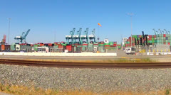 Drive-by Port Of Los Angeles Shipping Containers Harbor Cranes Stock Footage