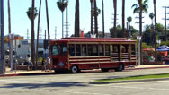 Stock Video Footage of San Pedro California Red Car Tourist Transport Bus