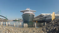 Wide Shot Generic Cruise Ship Docked In Port Of Los Angeles Stock Footage