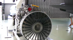 Close up of a jet engine in an aviation museum Stock Footage