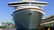 Bow Of Cruise Ship Blasting Horn For Departure Stock Footage