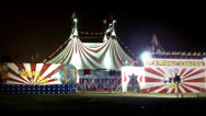 Stock Video Footage of Circus Entrance And Tent At Night
