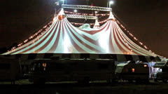 Circus Tent At Night With Performers RVs Stock Footage
