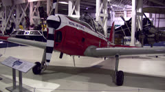 Low wing airplane in aviation museum Stock Footage
