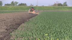 Farmland, farmer on tractor Stock Footage