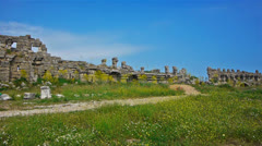 Ancient ruins in Side, Turkey Stock Footage