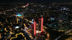 Time lapse aerial wiev istanbul city at night Stock Footage