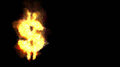 Burning Dollar sign Stock Footage