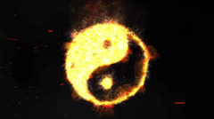 Flaming Yin Yang Symbol with Smoke and Sparks Stock Footage