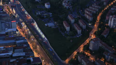 Aerial wiev istanbul city at night Stock Footage