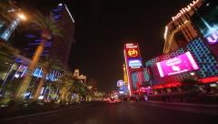 Las Vegas strip at night driving POV shot time-lapse - stock footage