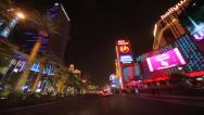 Stock Video Footage of Las Vegas strip at night driving POV shot time-lapse