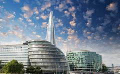 New london city hall with thames river and cloudy sky, panoramic view from to Stock Photos