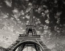 Paris. beautiful view of eiffel tower with sky sunset colors Stock Photos