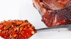 Meat food : roasted steak on white plate with red chili pepper a Stock Footage