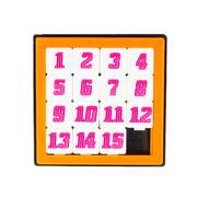 pocket sliding fifteen puzzle game in orange color frame on white background - stock illustration