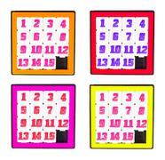 Pocket sliding fifteen puzzle game four color frame on white background Stock Illustration