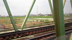 Bullet train shinkansen riding through the Tokyo suburb, Japan Stock Footage