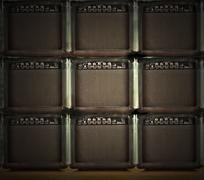 Wall of amps Stock Photos