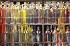 Multi-colored bottles Stock Photos