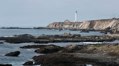 Pacific Ocean cove rocky coast Point Arean Lighthouse HD 6238 Stock Footage