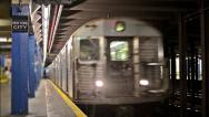 Stock Video Footage of NYC Subway Train Pulls into Station