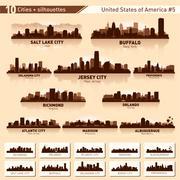 City skyline set. 10  city silhouettes of usa #5 Stock Illustration