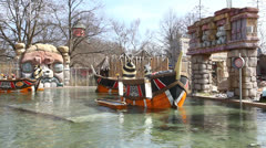 Pirate ships in water park Stock Footage