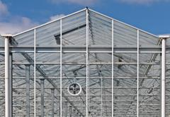 Frontview of a new greenhouse Stock Photos
