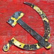 Antique part of a shipwreck with cccp logo Stock Photos