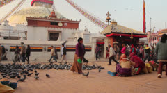 Believers does ritual on the Bouddhanath square in Kathmandu in the autumn 2012. Stock Footage
