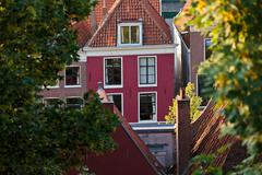 Old town house in the historic dutch city leiden Stock Photos