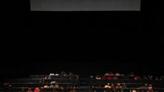 Viewers in the cinema house. Variant with screen motion. Stock Footage