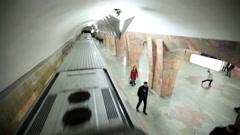 Stock Video Footage of Train runaways at the Marksistskaya metro station.
