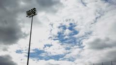 Stadium Lights Day Pan Stock Footage