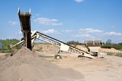 Mining industry, industrial conveyor belt Stock Photos