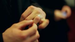 Man Adjusts Wedding Ring Stock Footage