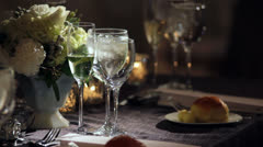 Set Table in Dark Room Stock Footage