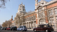 Victoria and Albert Museum with cabs. London. Stock Footage