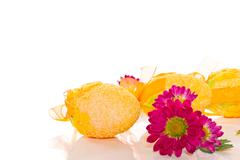 decorative easter eggs with flowers - stock photo