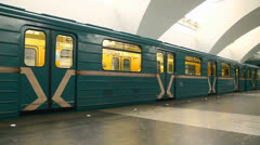 Train on station in subway Stock Footage