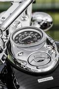 closeup of a big chromium motorcycle engine, shiny chrome plated - stock photo