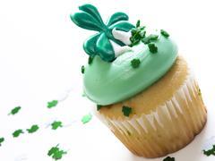 st. patrick's day cupcake - stock photo