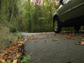 Stock Video Footage of An automobile travels in the woodland area