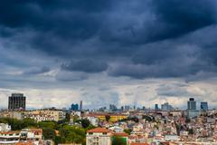 istanbul cityscape as seen from the bosphorus - stock photo