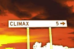 Red Climax Road Sign Stock Photos