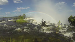 Top of Victoria Falls with rainbow Stock Footage