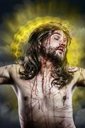 Jesus christ with a halo of golden light on the cross Stock Photos