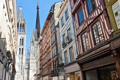 Half-timbered houses in rouen, normandy, france Stock Photos