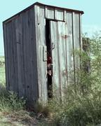 It's Stinky  in this Outhouse - stock photo